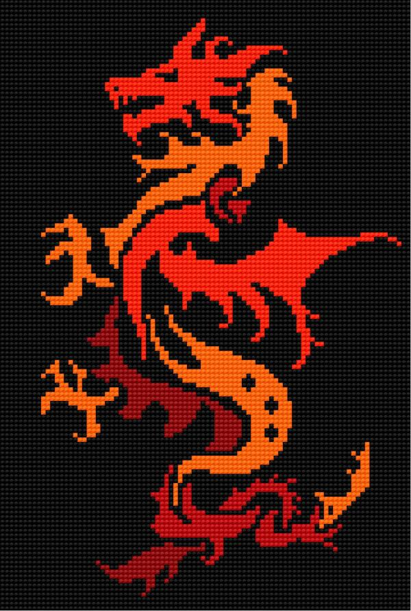 Dragon on the black canvas