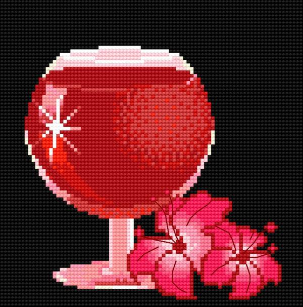 Wine-glass with lilac on the black canvas