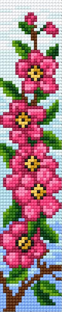 Bookmark in pink flower pattern
