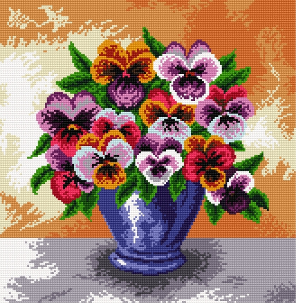 Pansies in a flowerpot