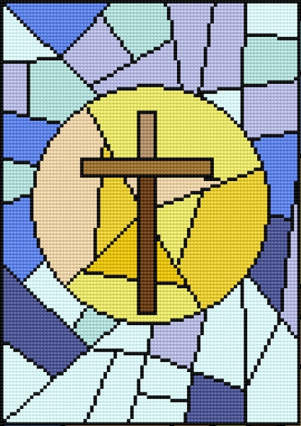 Stained glass with cross